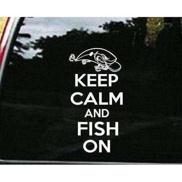Keep Calm and Fish On Fishing Decal Stickers