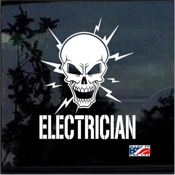 Lineman Decal – Electrician Lineman Skull Sticker a3