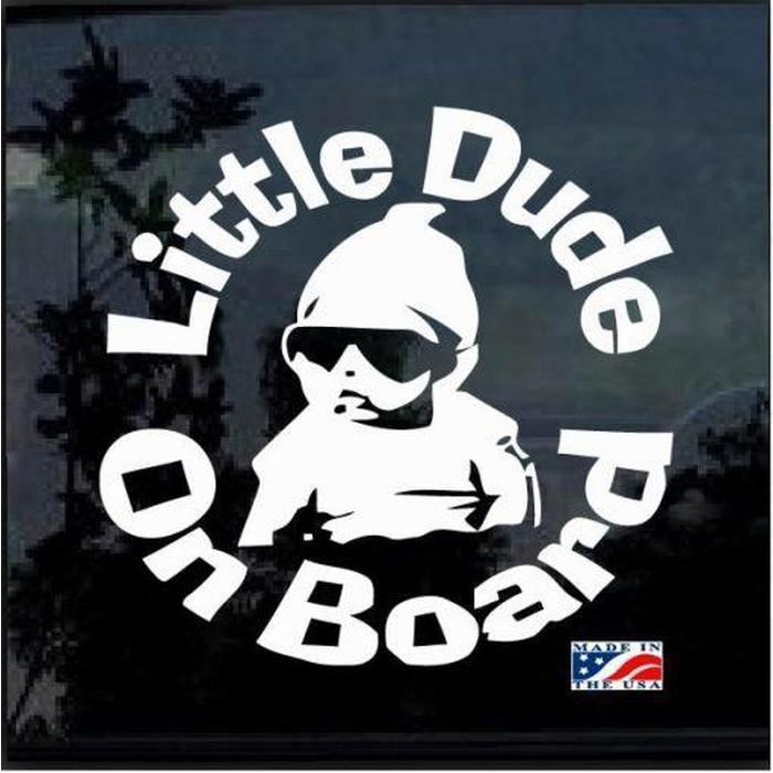 Little Dude on Board Round – Baby on Board Sticker