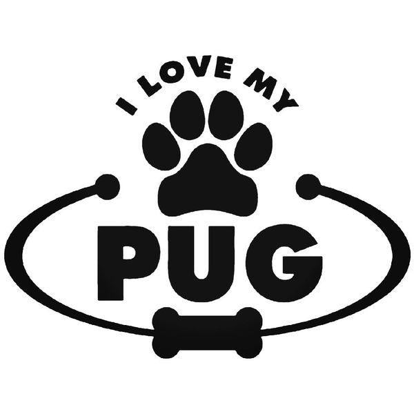 Love My Pug Decal Sticker