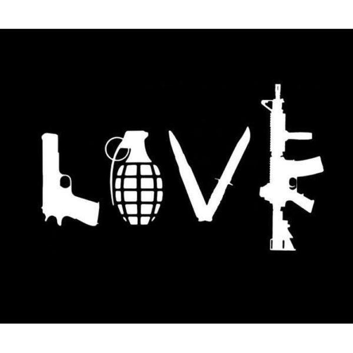 Love Peace Grenade Truck Decal Sticker