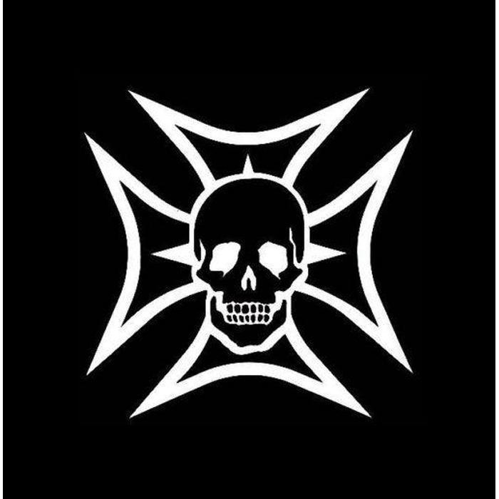 Maltese Cross and Skull Window Decal Sticker