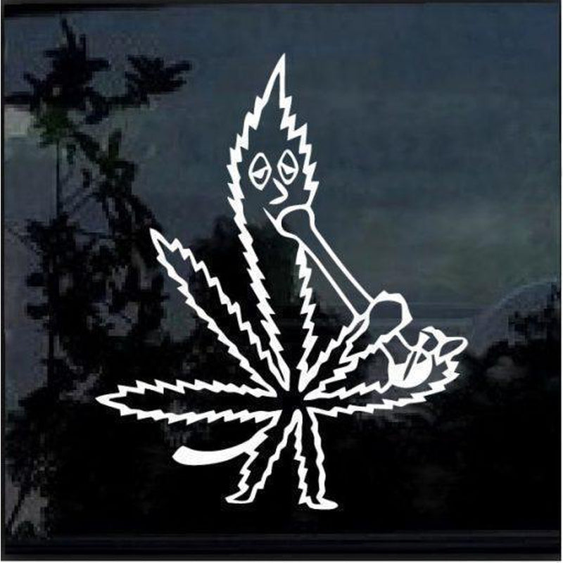Marijuana leaf smoking water bong Window Decal Sticker
