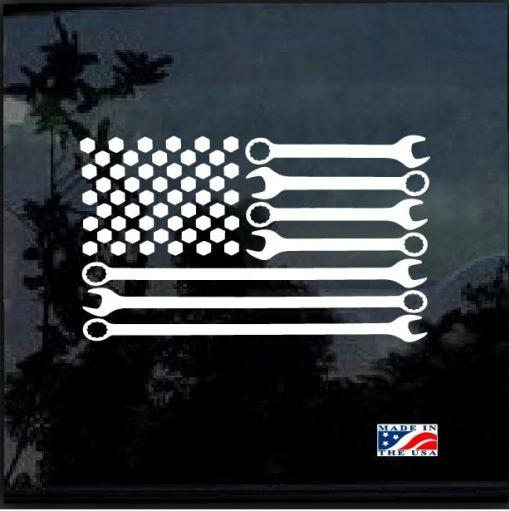 Mechanic Sticker – Flag Wrenches Decal