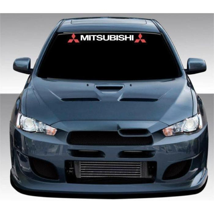 Mitsubishi with Logo Windshield Banner Decal Sticker