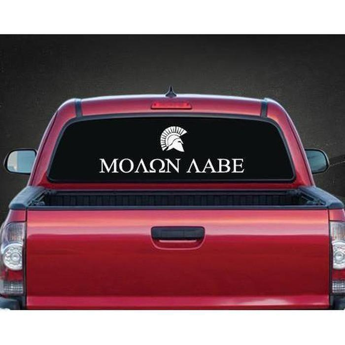 Molon Labe Rear Window a2 Sticker