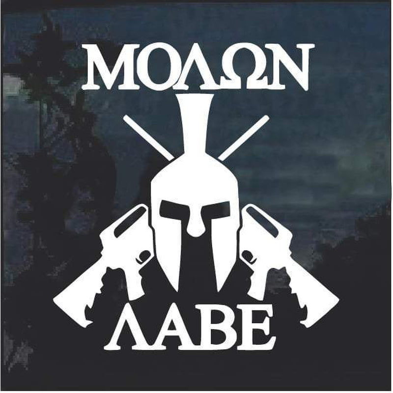 Molon Labe Spartan Helmet window decal sticker D4