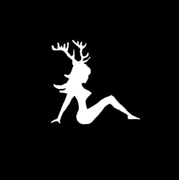 Mudflap Girl with Deer Antlers Hunting Window Decal Sticker