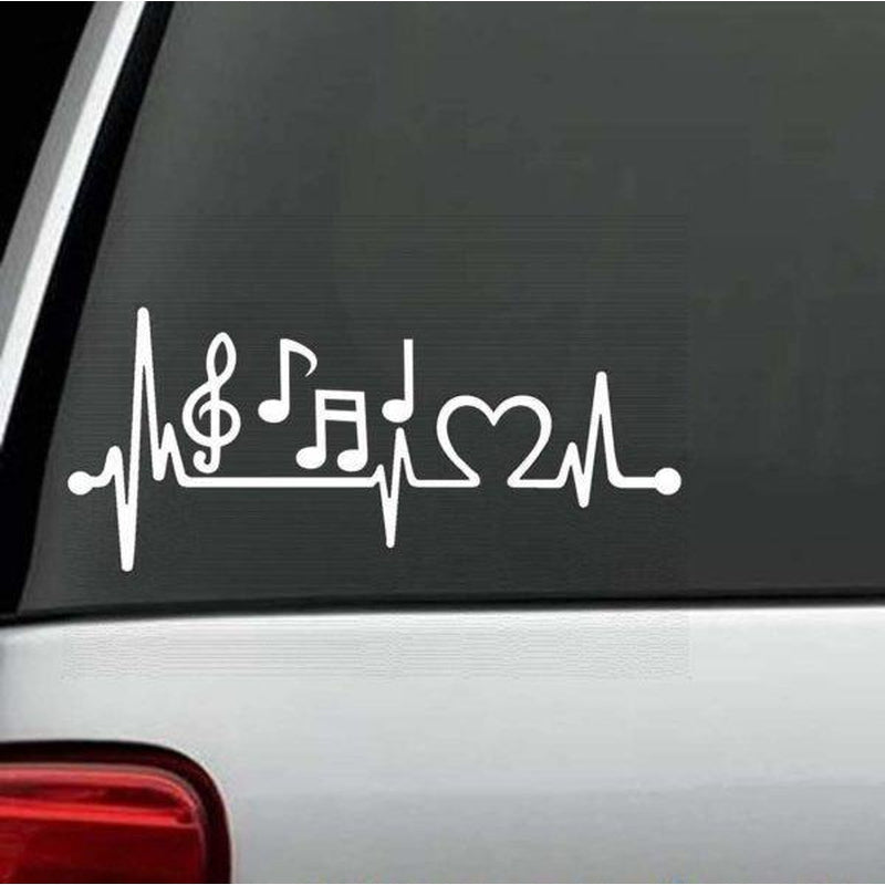 Music Notes Heartbeat love Window Decal Sticker