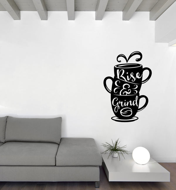 Vinyl Wall Decal Words on Cup Quotes About Coffee Home Interior