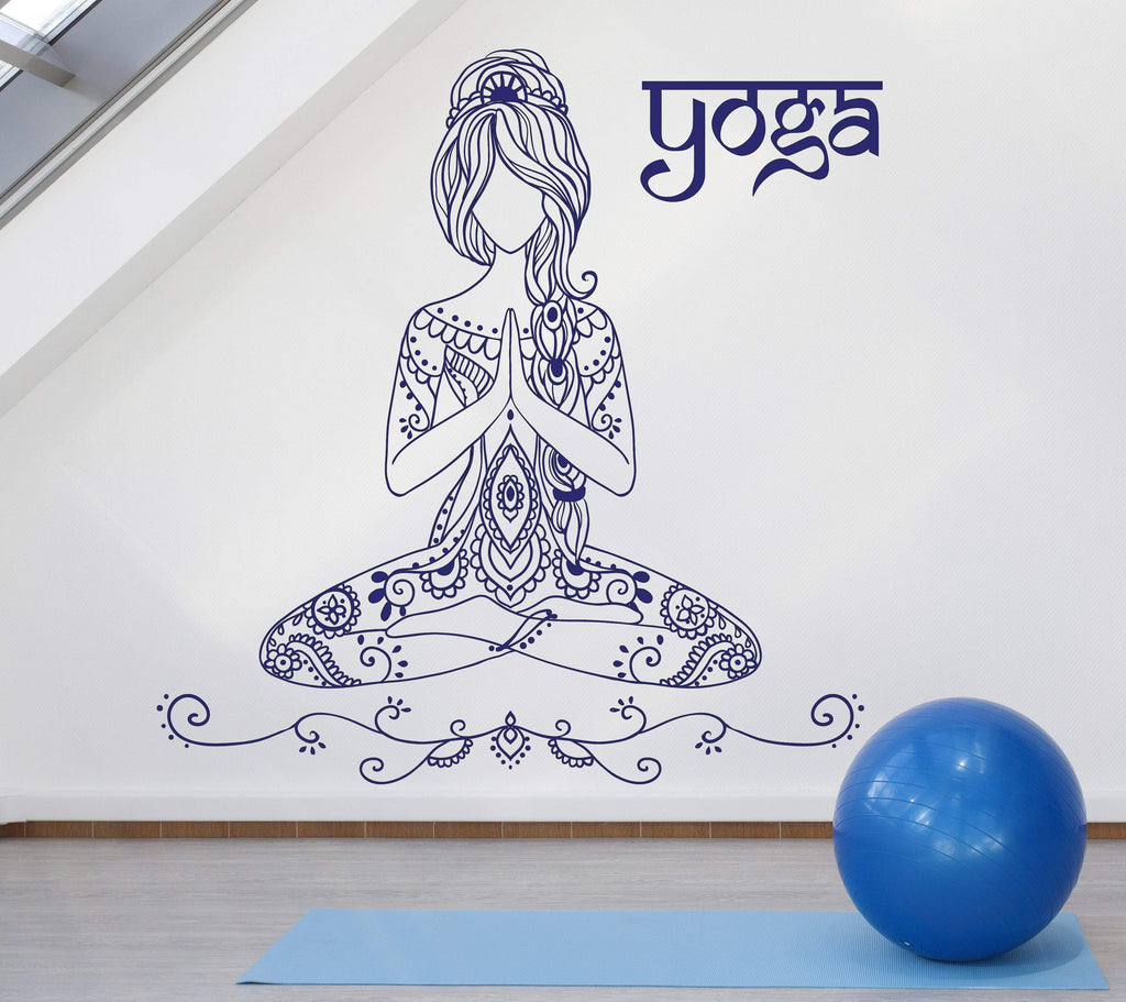 Beauty Girl Tattoo Style Yoga Pose Mediation Wall Vinyl Decal