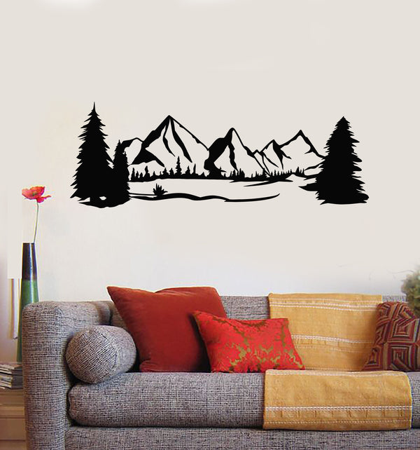 Vinyl Wall Decal Landscape Nature Scenery Terrain Snowy Mountain Trees