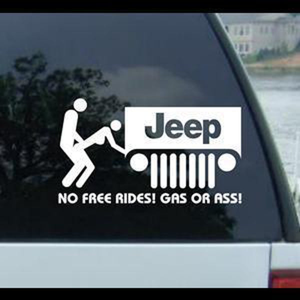 No Free Rides Gas Ass Jeep JDM Jeep Decal Stickers
