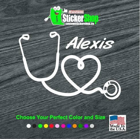 Nurse Decal – Heart Stethoscope Nurse Sticker With Name