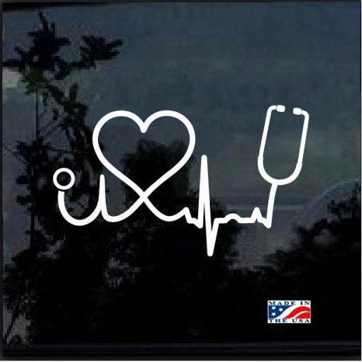 Nurse Decal – Heartbeat Stethoscope and Heart Sticker