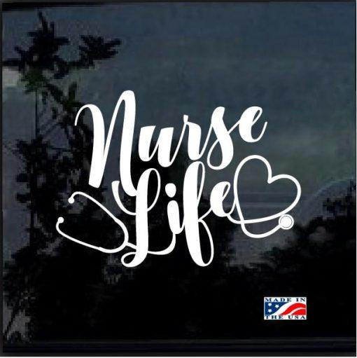 Nurse Decal – Nurse Life Heart Stethoscope Sticker