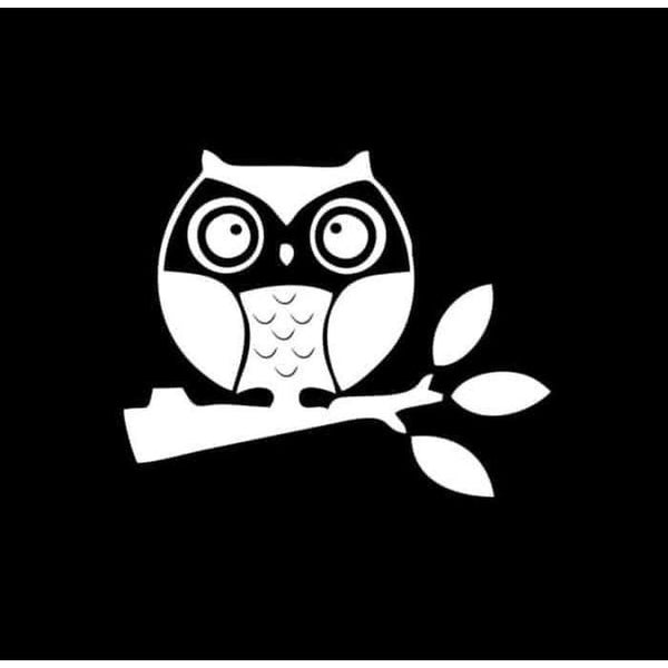 Owl on branch Window Decal Sticker