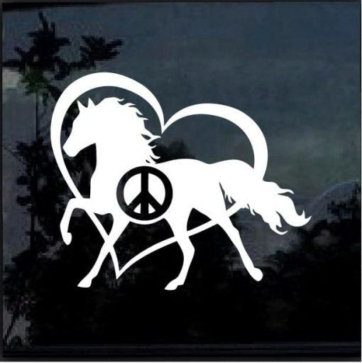 Peace Love Horses Window Decal Sticker