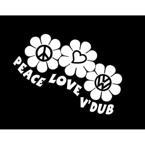 Peace Love VW Volkswagen Window Decal Sticker A2