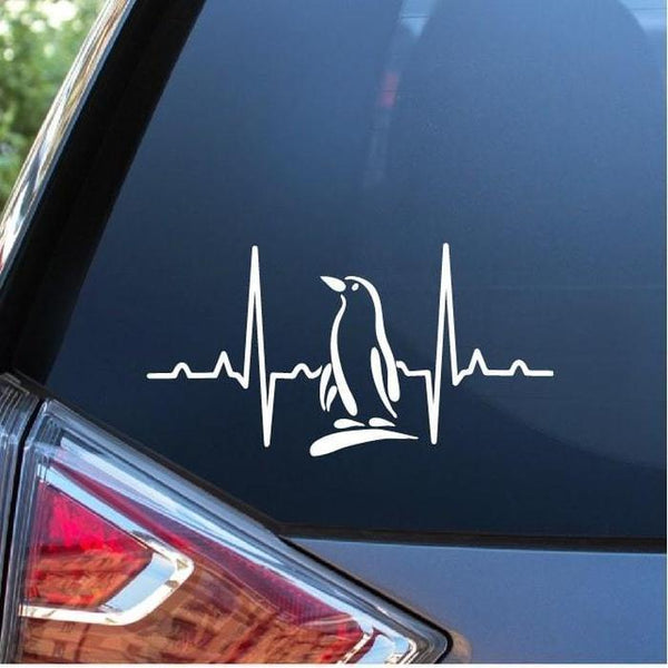 Penguin Love Heartbeat Window Decal Sticker
