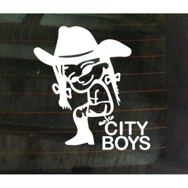 Piss On City Boys Girl Peeing Decal Stickers