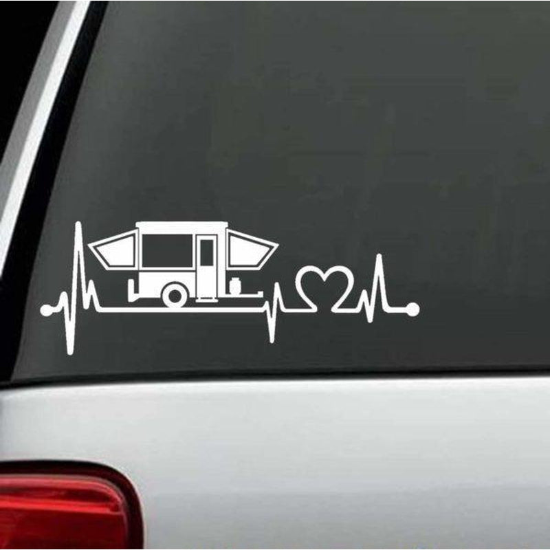 Pop Up Camper Heartbeat Love Truck Decal Sticker