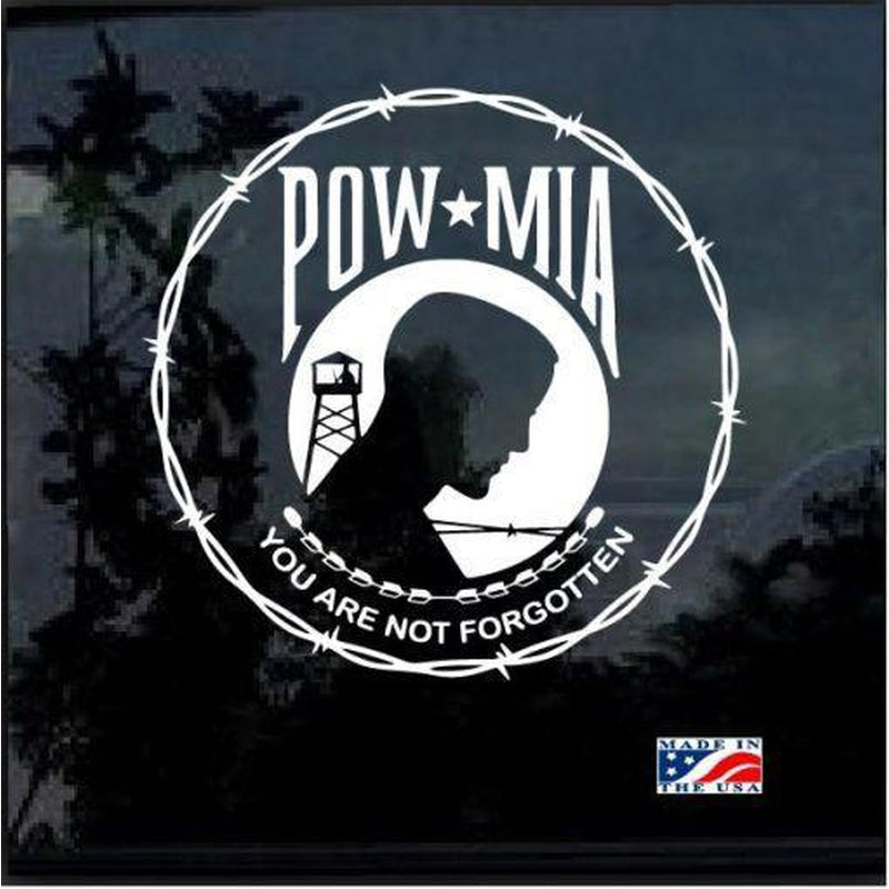 POW MIA Round Barbed Wire Military Window Decal Stickers