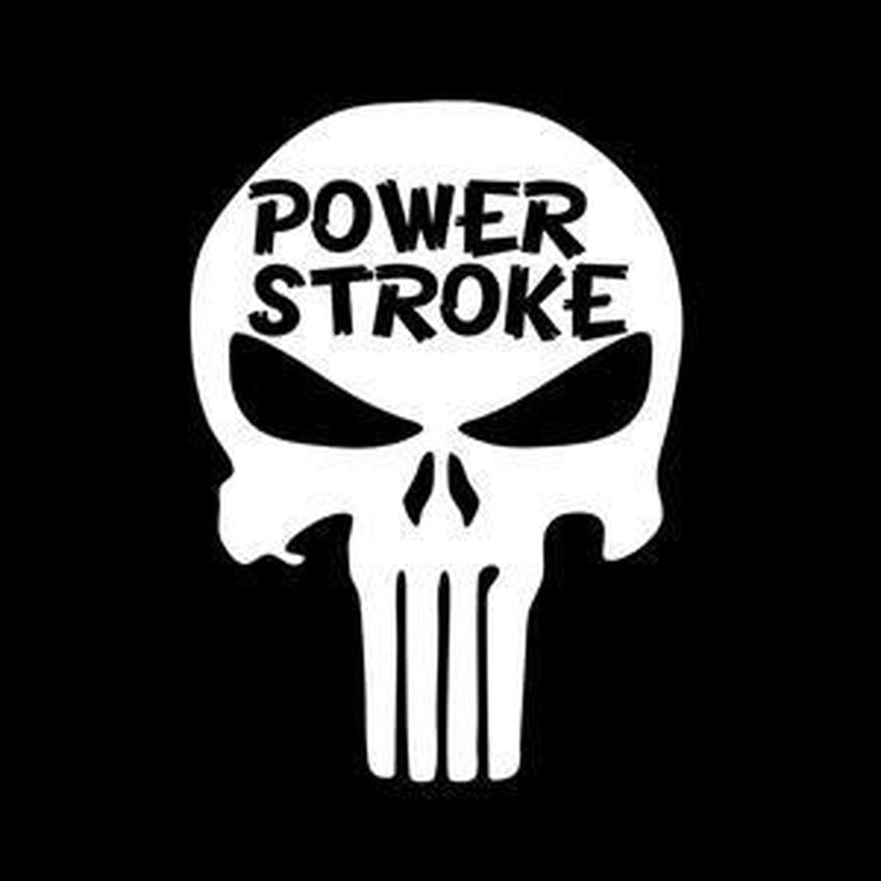 Power Stroke Punisher Skull Truck Decal Sticker