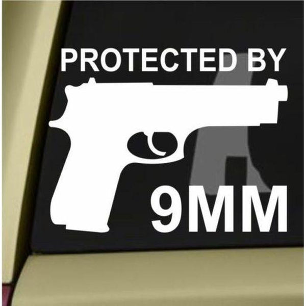 Protected by 9mm Window Decal Sticker
