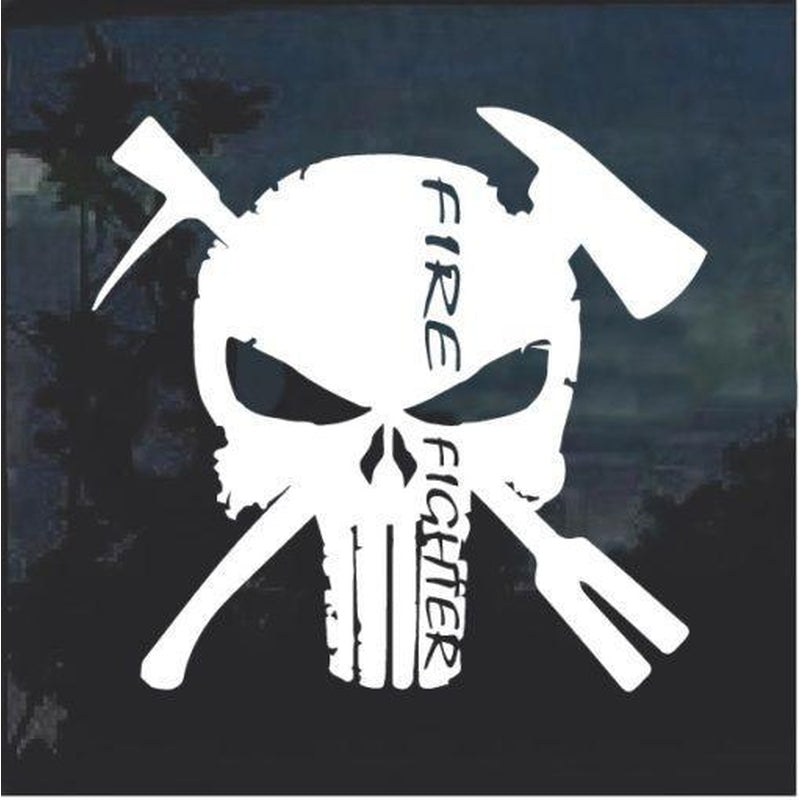 Punisher Skull Fire Fighter Fire Department Decal Sticker
