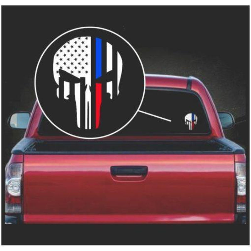 Punisher Skull Flag Police and Fireman Thin Line Window Decal Sticker A2