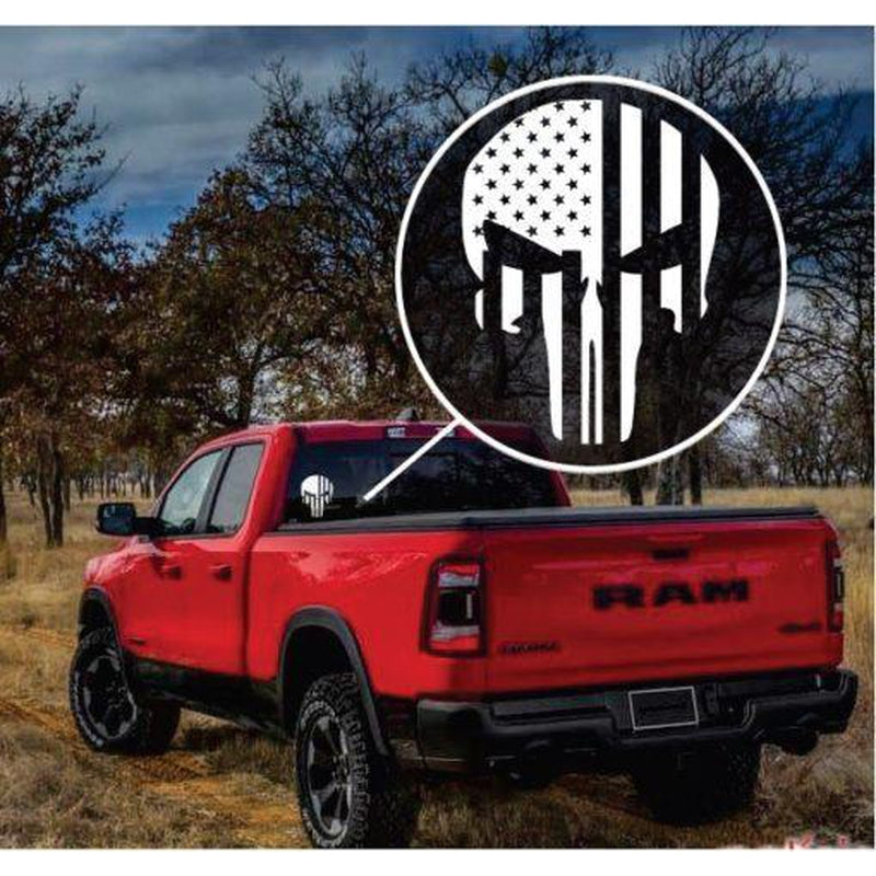 Punisher Skull Flag Window Decal Sticker A2