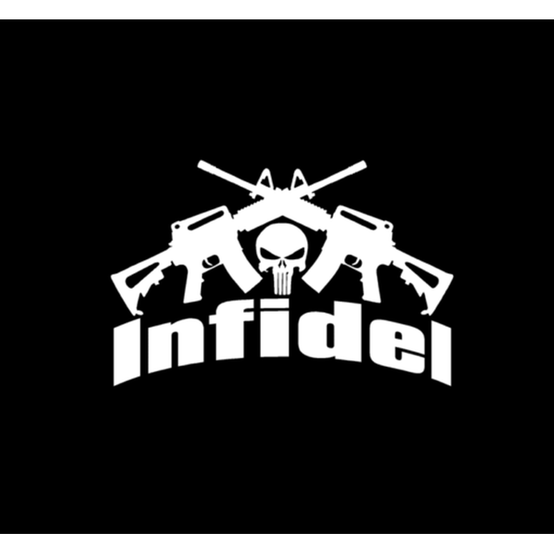 Punisher Skull Infidel Crossed Ar Military Window Decal Stickers A3