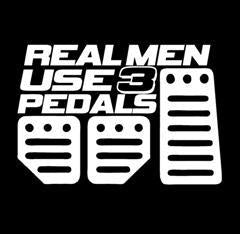 Real Men use 3 pedals Window Decal Sticker