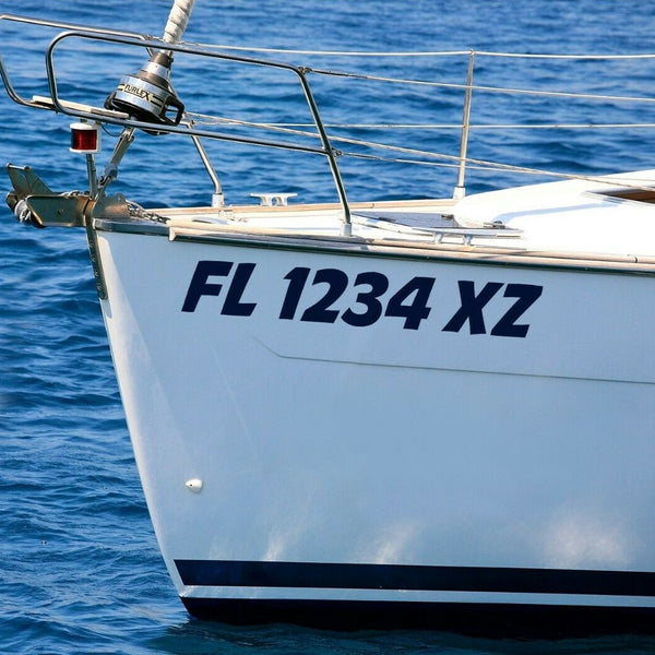 Boat Registration Numbers - Custom Vinyl Lettering Decals