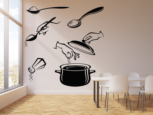 Vinyl Wall Decal Salt Kitchen Pot Spoon Cooking Soup Cuisine