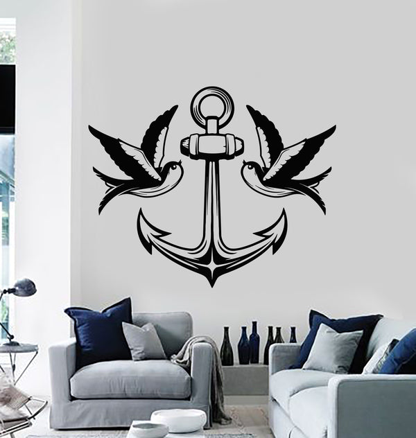 Vinyl Wall Decal Birds Swallow Anchor Sea Nautical Marine Style