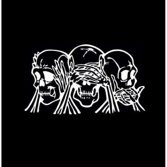 See speak hear No evil skulls Window Decal Sticker