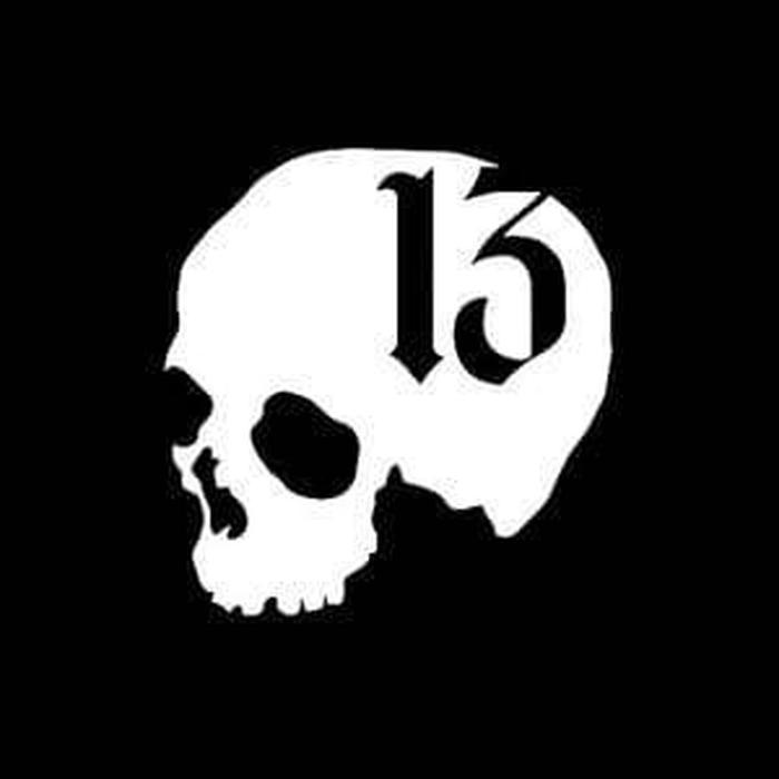 Skull Number 13 Window Decal Sticker