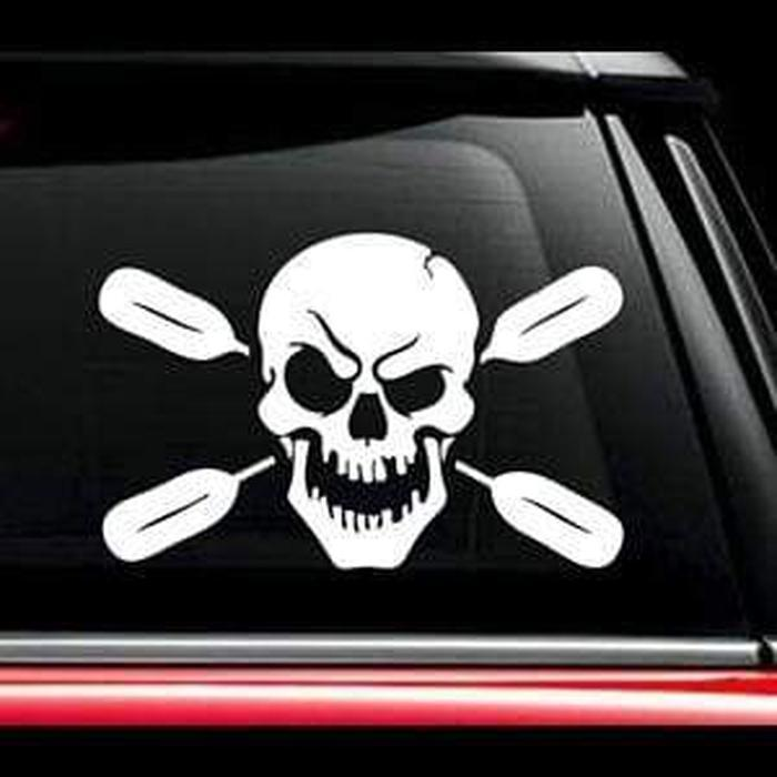 Skull Oars Kayak Window Decal Sticker