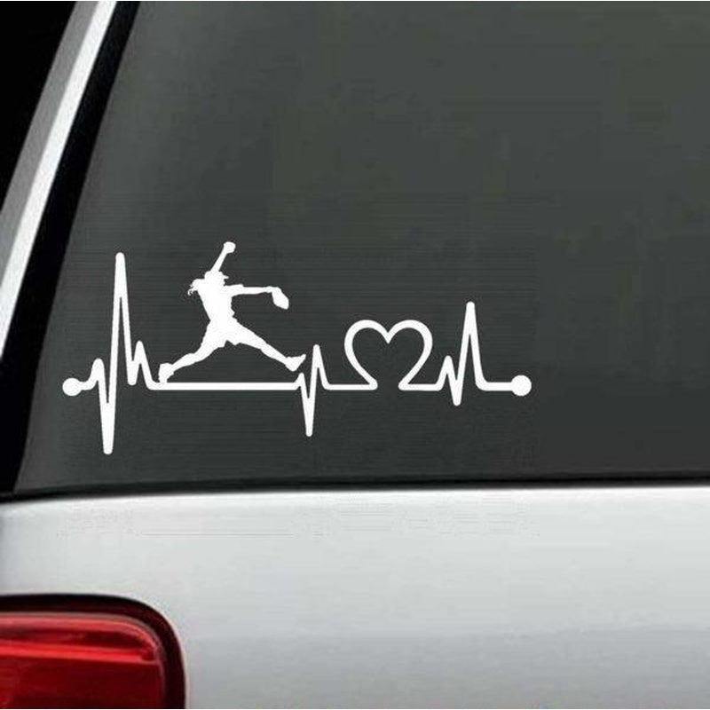 Softball Pitcher Heartbeat love Window Decal Sticker