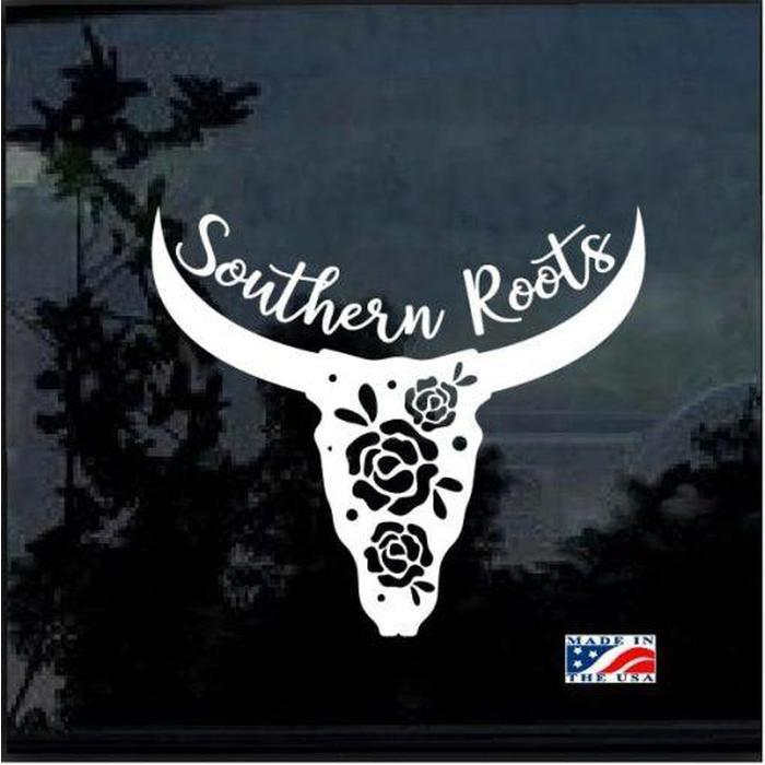 Southern Roots Longhorn skull Window Decal Sticker