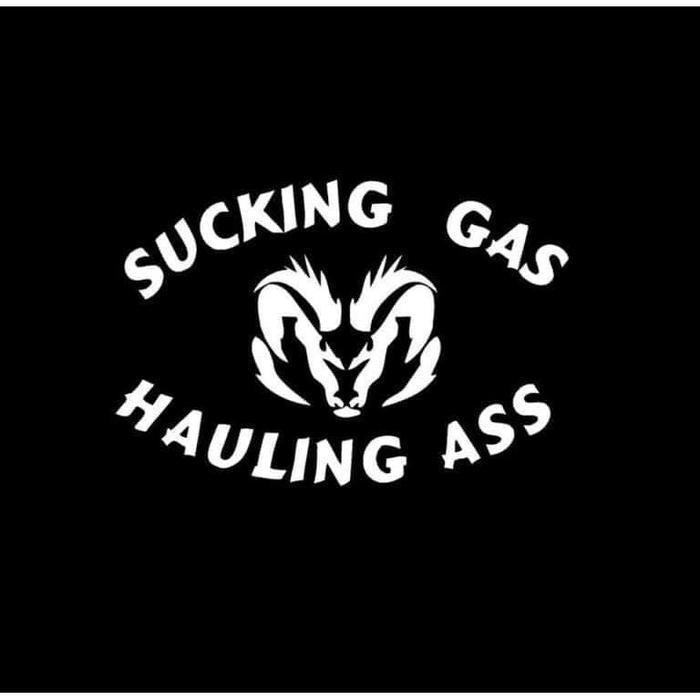 Sucking Gas Hauling Ass Dodge Truck Decal Sticker