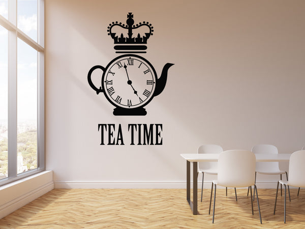 Vinyl Wall Decal Tea Time Clock Kettle Kitchen Restaurant Decor