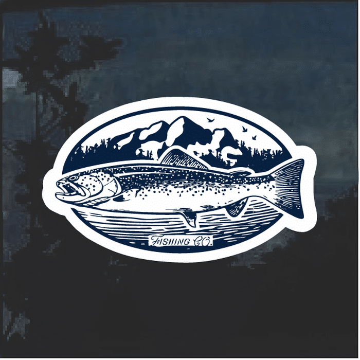 Trout Fishing Window Decal Sticker
