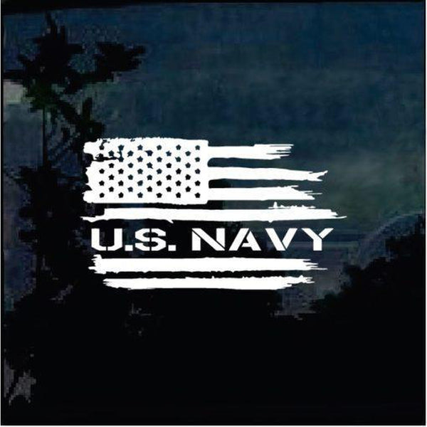 US Navy Weathered American flag Military Window Decal Stickers