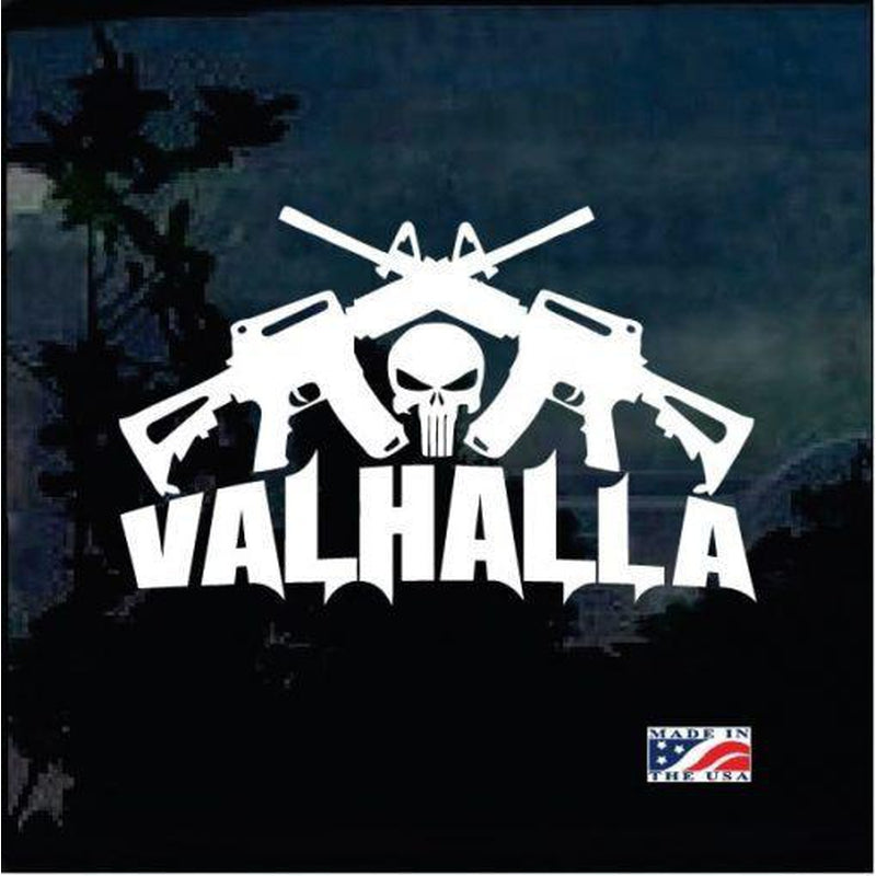 Valhalla Punisher Skull Crossed AR Military Window Decal Stickers