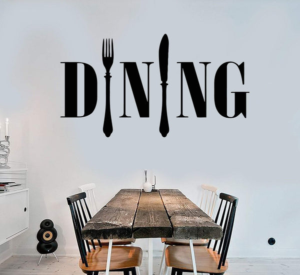 Vinyl Wall Decal Dining Room Kitchen Chef Cook Cutlery Stickers Unique