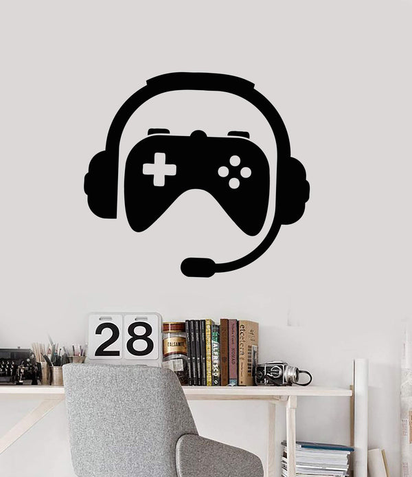 Vinyl Wall Decal Gamer Room Decor Joystick Headphones Stickers