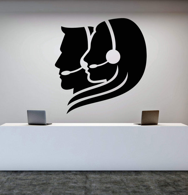 Vinyl Wall Decal Call Center Operator Office Worker Stickers (2253ig)